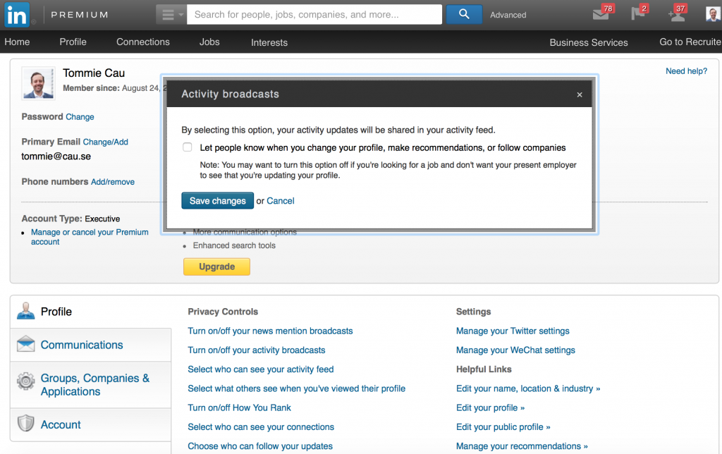 LinkedIn activity broadcast